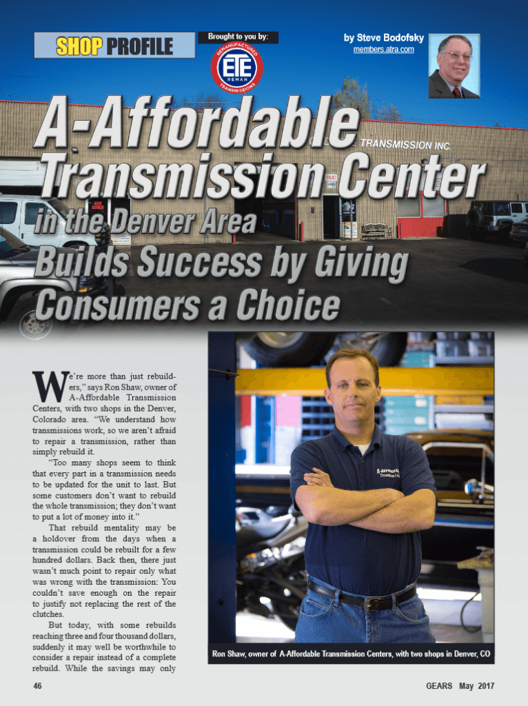 A-Affordable Transmissions Center Gears Magazine.
